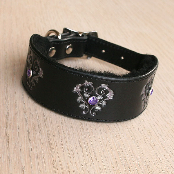 Floral Hearts and Crystals Leather Buckle Collar (1.5 inch wide)