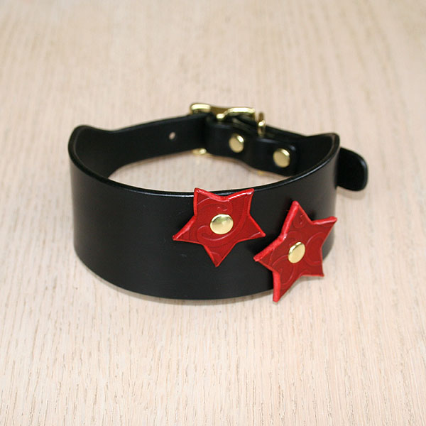 Attached Stars Leather Buckle Collar (2 inch wide)
