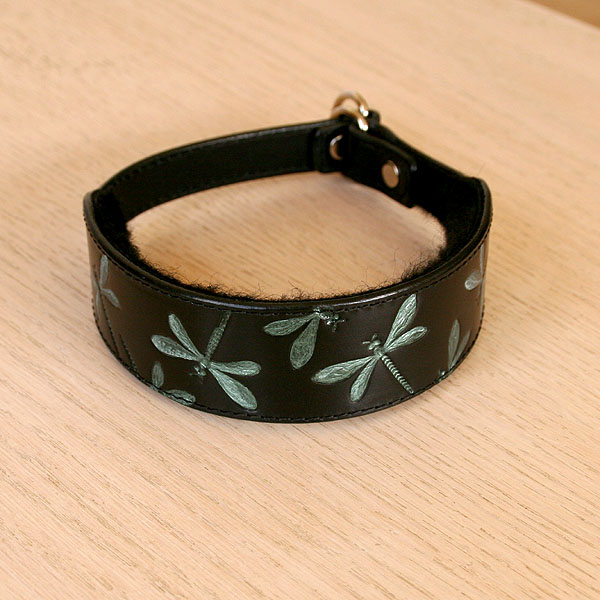 Iridescent Dragonfly Leather Slip Collar (1.5 inch wide)