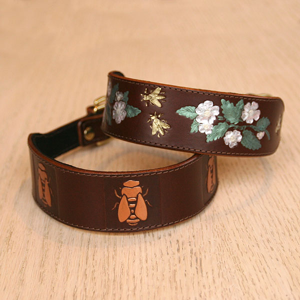 Dog Roses Leather Slip Collar (1.5 inch wide)