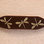 Iridescent Dragonfly Leather Buckle Collar (small)