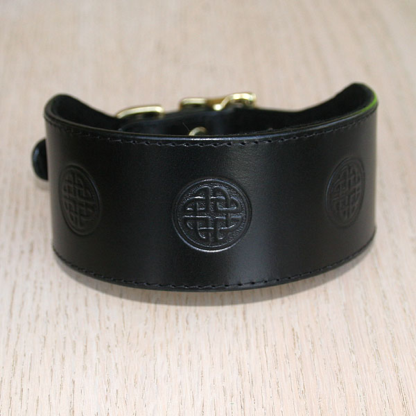 Celtic Circles Leather Buckle Collar (2 inch wide)