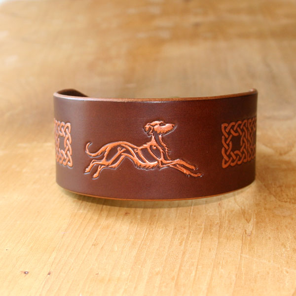 Celtic Lurcher Painted Leather Buckle Collar (2 inch wide)