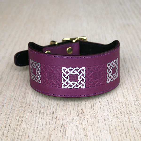Celtic Squares Alternating Leather Buckle Collar (2 inch wide)