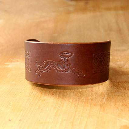 Celtic Lurcher Leather Buckle Collar (2 inch wide)