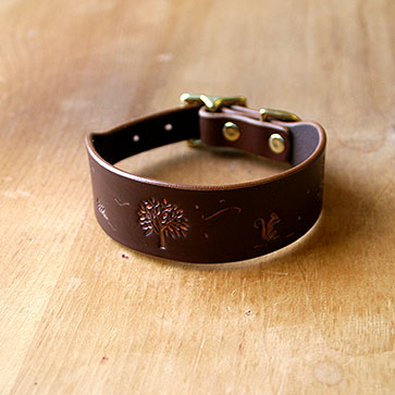 Autumn Woodland Leather Buckle Collar (1.5 inch wide)