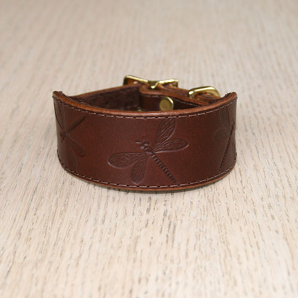 Dragonfly Leather Buckle Collar (small)