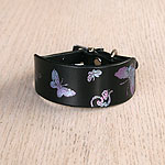 Printed Butterfly Leather Buckle Collar (small)