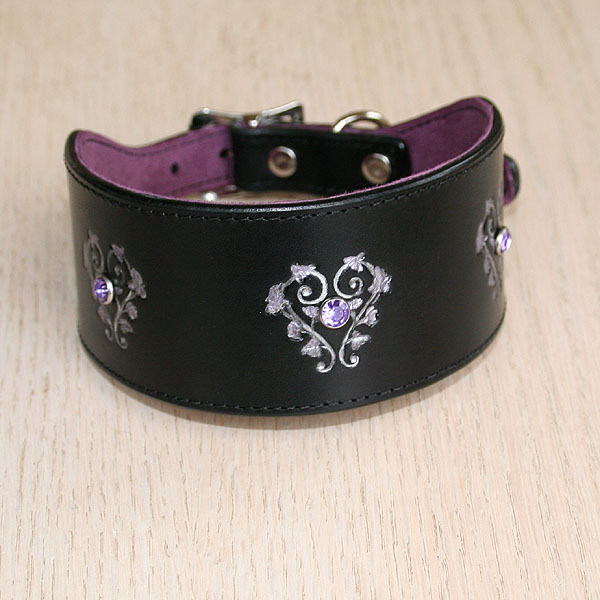 Floral Hearts and Crystals Leather Buckle Collar (2 inch wide)