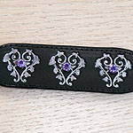 Floral Hearts and Crystals Leather Buckle Collar (small)