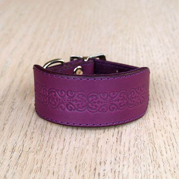 Floral Tile Leather Buckle Collar (small)