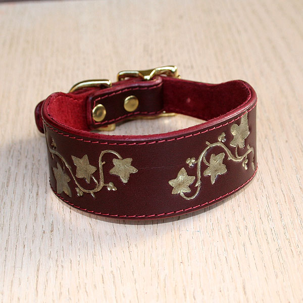 Painted Ivy Leaves Leather Buckle Collar (1.5 inch wide)