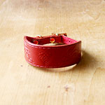 Hares and Hearts Leather Buckle Collar (small)