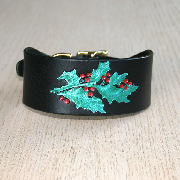 Painted Holly Buckle Collar (2 inch wide)