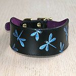 Buckle collar with iridescent dragonflies
