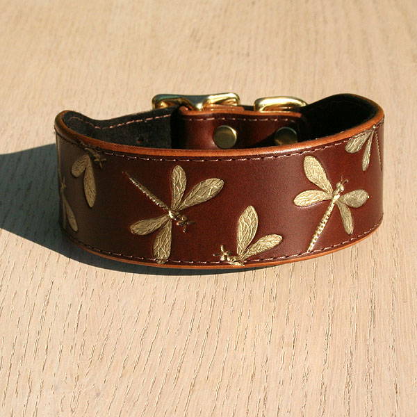 Iridescent Dragonfly Leather Buckle Collar (1.5 inch wide)