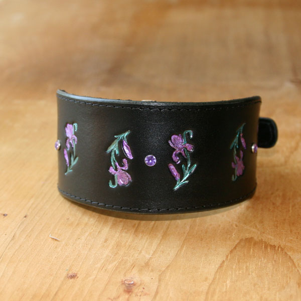 Luxury Irises Leather Buckle Collar (2 inch wide)