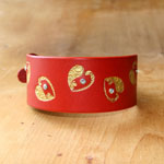 Luxury Swirly Hearts Leather Buckle Collar (2 inch wide)