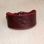 Oak Leaves Leather Buckle Collar (2 inch wide)