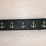 Painted Anchors Leather Buckle Collar (1.5 inch wide)