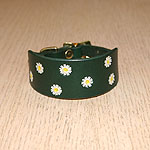 Painted Daisy Leather Buckle Collar (small)