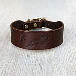Paired Leaves Leather Buckle Collar (1.5 inch wide)