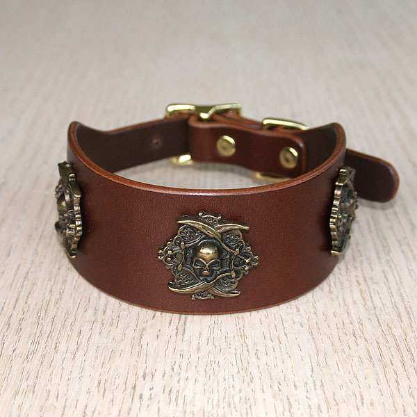 Pirate Conchos buckle collar (2 inch wide)