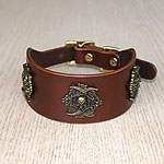 Pirate Conchos Leather Buckle Collar (2 inch wide)
