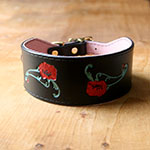 Red Poppies Leather Buckle Collar (2 inch wide)