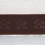 Skulls Leather Buckle Collar (2 inch wide)