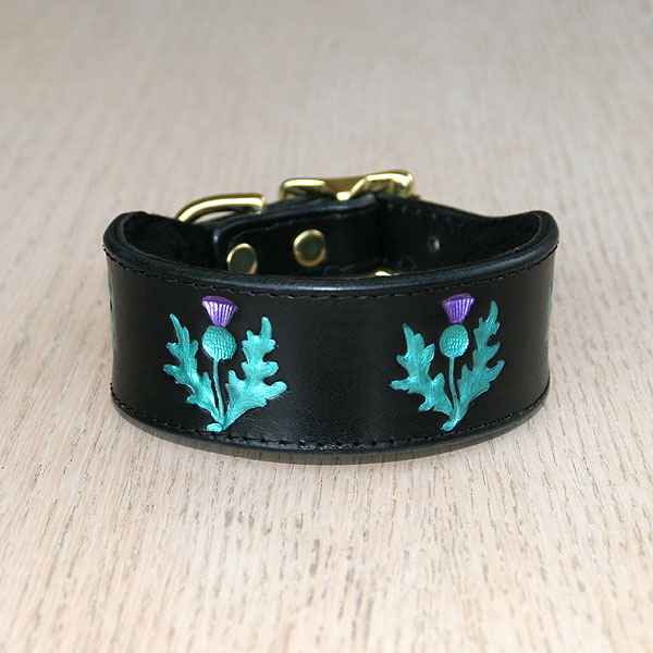 Painted Thistles Leather Buckle Collar (1.5 inch wide)