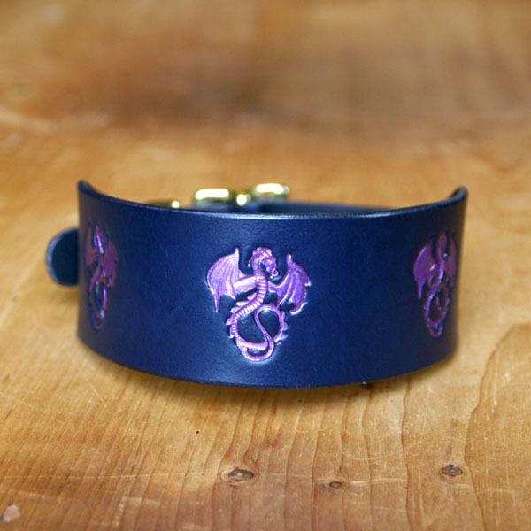 Painted Dragons Leather Buckle Collar (2 inch wide)