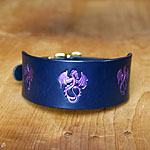 Floating Seahorses Leather Slip Collar (2 inch wide)