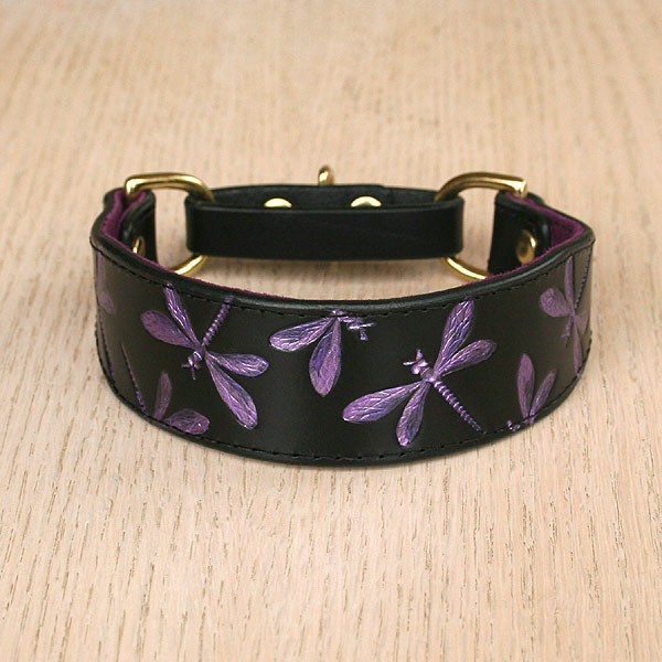 Iridescent Dragonflies Leather Martingale Collar (1.25 inch wide)
