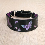 Printed Butterflies Leather Martingale Collar