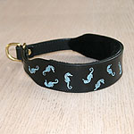 Painted Floating Seahorses Leather Collar (1.5 inch wide)