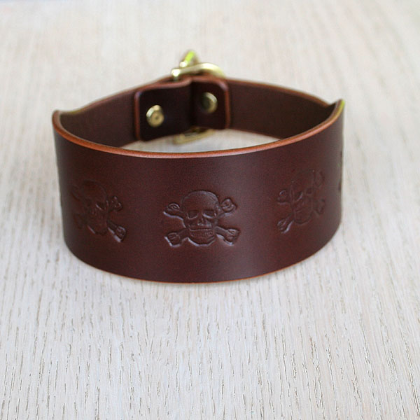 Skulls Leather Slip Collar (2 inch wide)