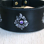 Victorian Swirls Leather Slip Collar (2 inch wide)