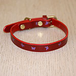 Mini Painted Butterflies Straight Leather Collar (⅝ inch wide)