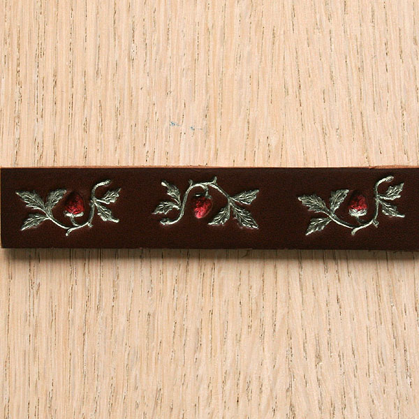 Painted Strawberries Straight Leather Collar (¾ inch wide)