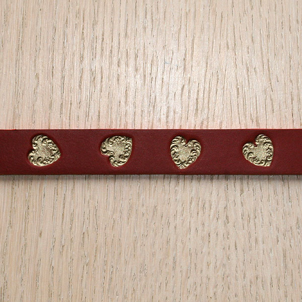 Swirly Hearts Painted Straight Leather Collar (¾ inch wide)