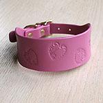 Swirly Hearts Leather Buckle Collar (2 inch wide)