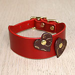 Attached Hearts Leather Buckle Collar (1.5 inch wide)