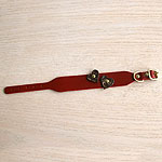 Red leather greyhound collar with burgundy hearts